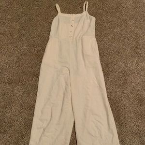 Cream spaghetti strap lightweight jumpsuit